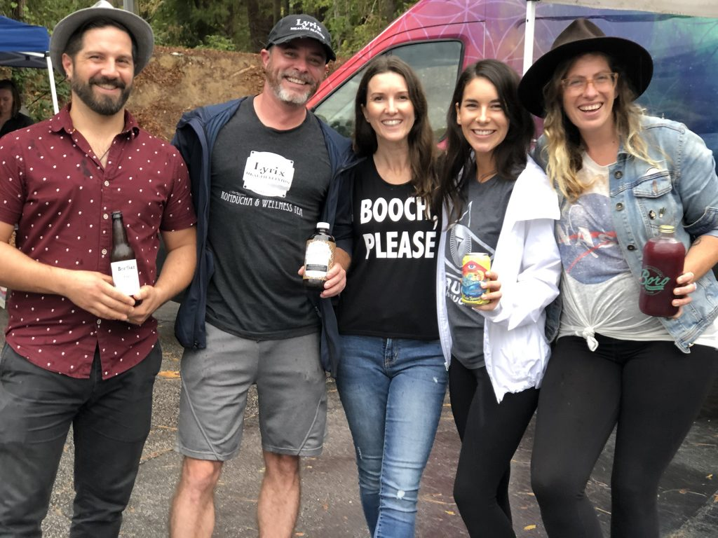 Photo of five kombucha brewers at the Triangle Ferment Fest